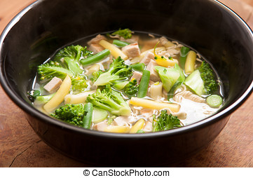 pho with farm vegetables - local homemade chicken pho with...