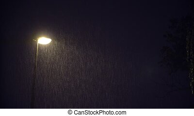 Illuminated Public Lamp in Dark Night Heavy Rain