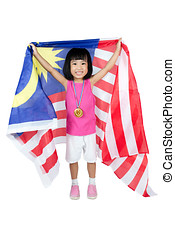 Asian Chinese little girl with Malaysian Flag in isolated...