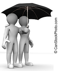 Man with umbrella. 3d