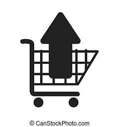 cart buy arrow up market isolated vector illustration eps 10