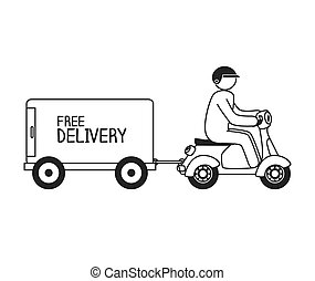 cartoon free delivery motorcycle isolated vector...