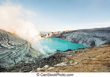 Landscape, Kawah Ijen volcano landmark in indonesia