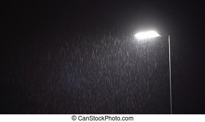 Illuminated Public Lamp in Dark Night Heavy Rain - ULTRA HD...