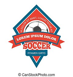 Vector soccer logo, badge, emblem template in red and blue -...