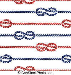 Nautical ropes with knots seamless pattern