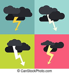 Thunderclouds flat icons on color background. Storm cyclone...