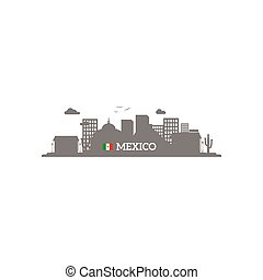 Mexico skyline silhouette with name of country and flag...