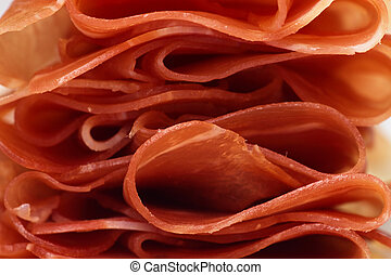 Slices of prosciutto, italian ham