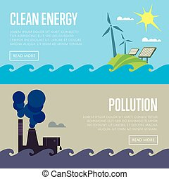 Clean energy and air pollution banners - Clean energy and...