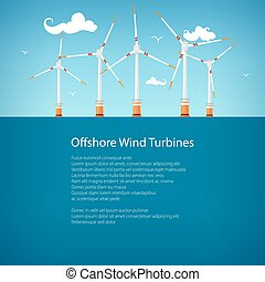 Wind Turbines at Sea, Poster Brochure Design - Wind Turbines...