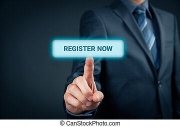 Register now concept. Businessman click on virtual button...