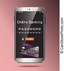 Password and login, shopping, banking operation on...