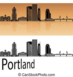 Portland V2 skyline - Portland skyline in orange background...