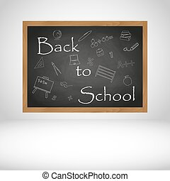 Back to School text on black wooden chalkboard background...