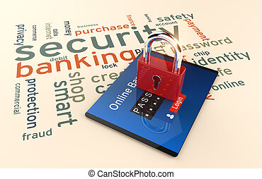 Password and login, shopping, banking operation on digital...