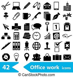 office work theme simple black icons collection eps10