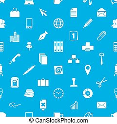 office work theme simple icons blue and white seamless...