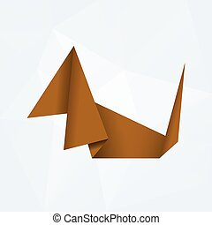brown simple paper origami dog od white paper background...