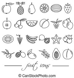 fruit theme black simple outline icons set eps10