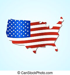 USA simple map filled with us flag colorful symbol eps10
