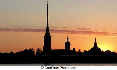 Peter and Paul Fortress Silhouette at sunset, St....