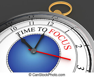 3D time to focus concept clock closeup