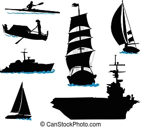Boats-3 - Silhouettes of offshore ships - yacht, fishing...