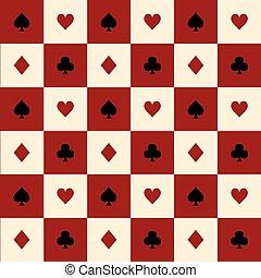Card Suits Red Burgundy Cream Beige Black White Chess Board...