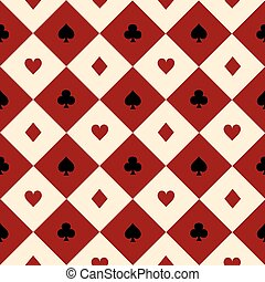 Card Suits Red Burgundy Cream Beige Black White Chess Board...