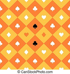 Card Suits Yellow Orange Gold White Chess Board Diamond...