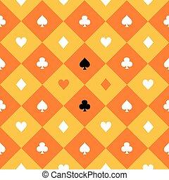 Card Suits Yellow Orange Gold White Chess Board Diamond...