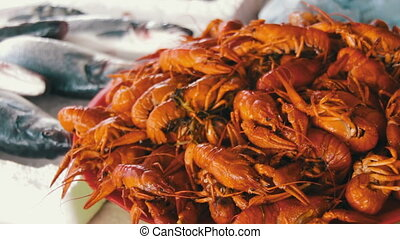 Boiled Red Crayfish on the Counter Fish Market - Fish...