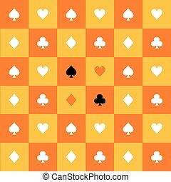 Card Suits Yellow Orange Gold White Chess Board Background...