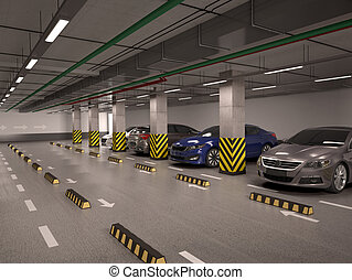 underground parking with cars. 3d illustration.