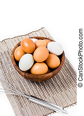 eggs in wooden bowl on white backgrond