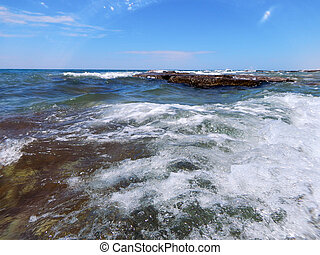 Sea surf - Shooting above the water level Caspian Sea