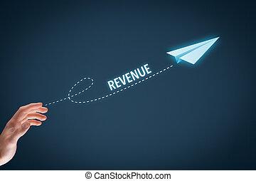 Revenue - Increase revenue concept. Businessman throw a...