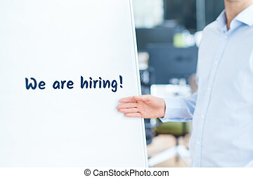 We are hiring - human resources concept Headhunter recruiter...