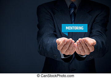 Mentoring advertisement concept. Mentor show virtual label...