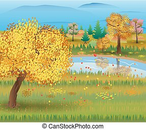 Autumn nature landscape with forest and lake. vector...