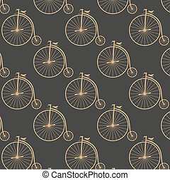 Vintage high wheeler seamless pattern Stylish retro print...