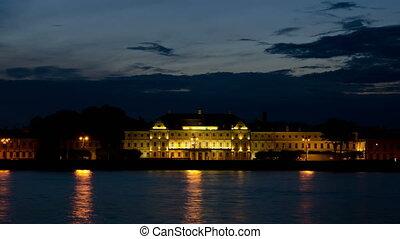 Menshikov Palace at night - The Menshikov Palace at night,...