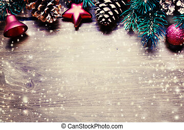 Christmas ornaments with copy space for greeting text, close up. Xmas Card with decorations