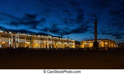 Hermitage Museum in White Nights, St. Petersburg, Russia...