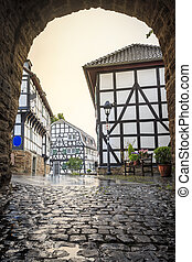 Traditional architecture at historic Blankenberg, Germany -...
