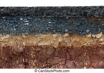 Layers of road with soil and rock. - The layer of asphalt...