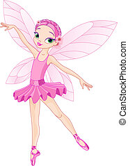 Cute pink fairy - Dancing Pink Cute fairy ballerina