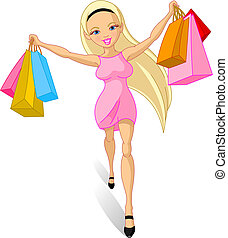 Shopping girl: - Illustration of happy Shopping girl