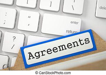 Card Index with Agreements. 3D Illustration. - Agreements...